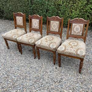 Set of Four Late Victorian Oak Dining Chairs