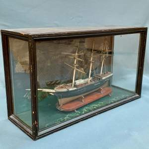 19th Century Scratch Built Cased Diaroma of a British Trade Ship