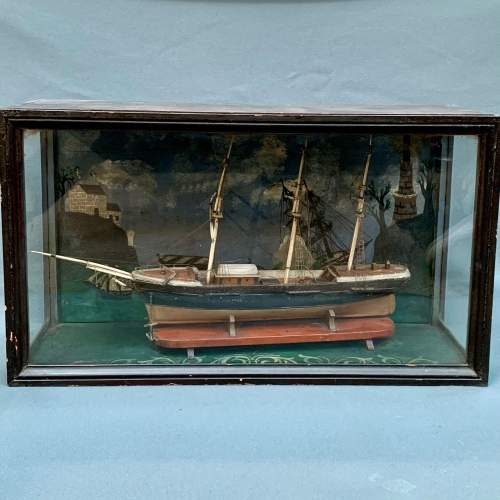 19th Century Scratch Built Cased Diaroma of a British Trade Ship image-2