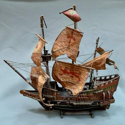 Early 20th Century Scratch Built Model of the Golden Hinde Ship image-1