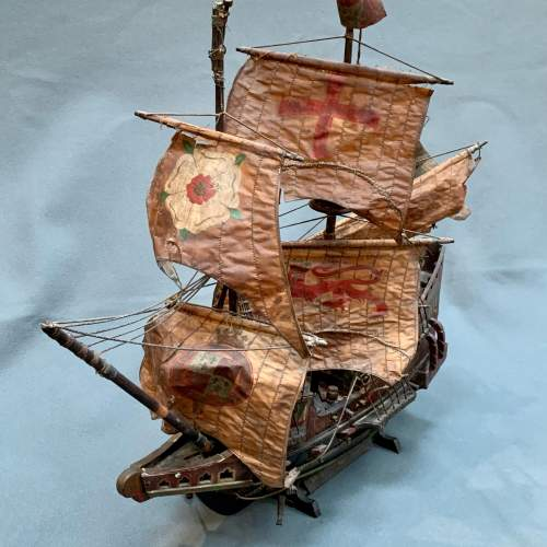 Early 20th Century Scratch Built Model of the Golden Hinde Ship image-2