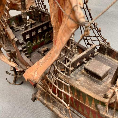 Early 20th Century Scratch Built Model of the Golden Hinde Ship image-3