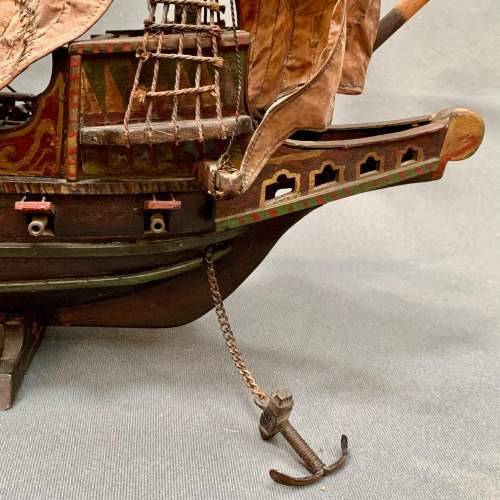 Early 20th Century Scratch Built Model of the Golden Hinde Ship image-5