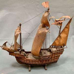 Early 20th Century Scratch Built Model of a Spanish Galleon
