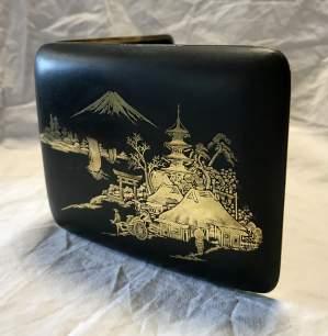 Vintage Japanese Damascene Engraved Cigarette Case Circa 1940s