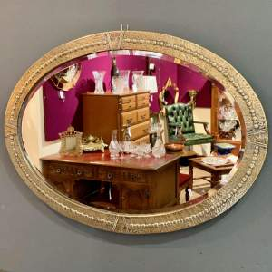 Arts and Crafts Large Hammered Brass Wall Mirror