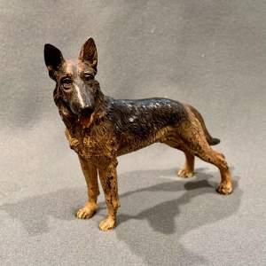Cold Painted Bronze Alsatian Figure