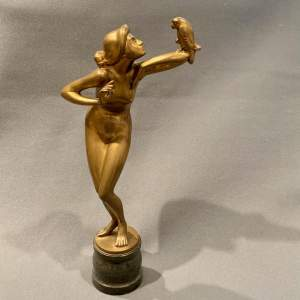 Art Deco J Werson Gilt Bronze Girl and Parrot