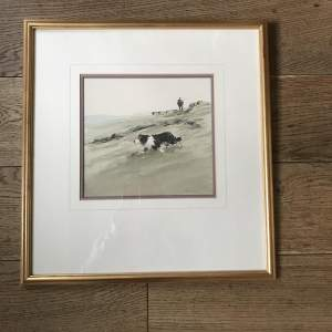 Framed Watercolour Fetching in the Stragglers by Philip Gardner