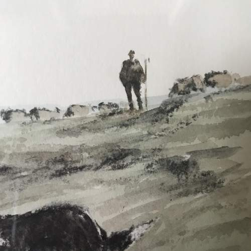 Framed Watercolour Fetching in the Stragglers by Philip Gardner image-3