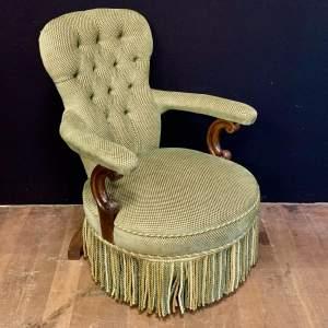 Unusual Victorian Button Back Armchair