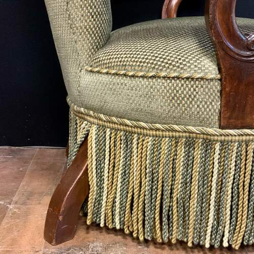 Unusual Victorian Button Back Armchair image-4