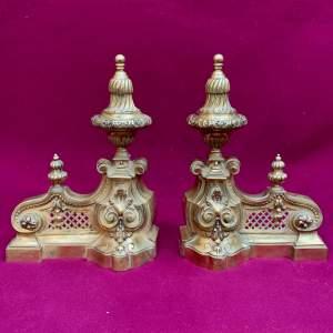 Victorian Brass Fire Dogs