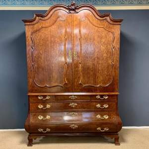 Large 18th Century Dutch Plum Pudding Mahogany Linen Press
