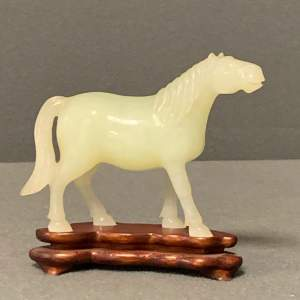 Chinese Jade Horse on Stand