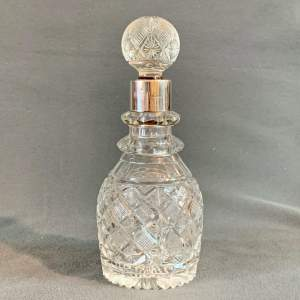20th Century Silver Collar Crystal Decanter
