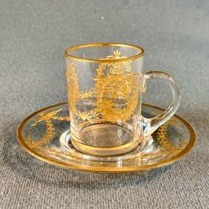 Finely Gilded Glass Cup and Saucer