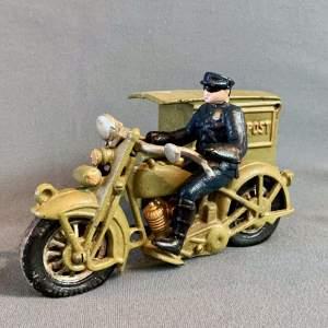 Vintage American Cast Iron Postman on Motorcycle