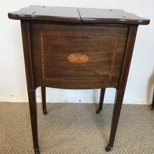 Edward VII Mahogany Inlaid Workbox Top Opening on tapered legs