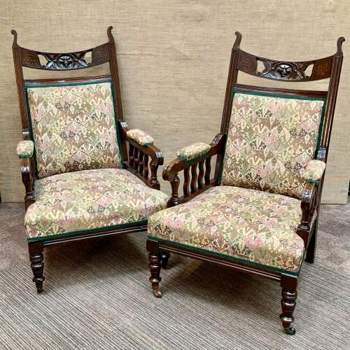 Pair of 19th Century Oak Green Man Carved Armchairs image-1