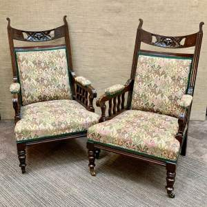 Pair of 19th Century Oak Green Man Carved Armchairs