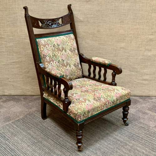 Pair of 19th Century Oak Green Man Carved Armchairs image-2
