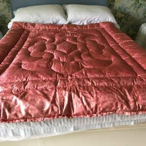 Large  1940s-50s   Pink  Feather-filled  Eiderdown  57in x  69in