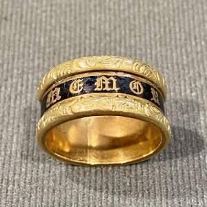 Pinchbeck Enamel Mourning Ring