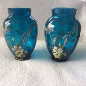 Pair of Victorian Hand Painted Blue Glass Vases