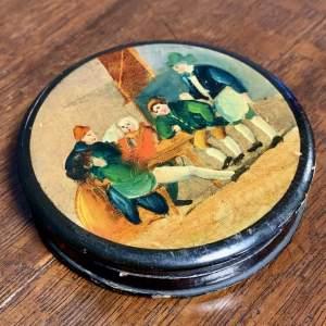 Victorian Papier Mache Snuff or Pill Box
