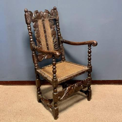 19th Century Oak and Cane Armchair image-1