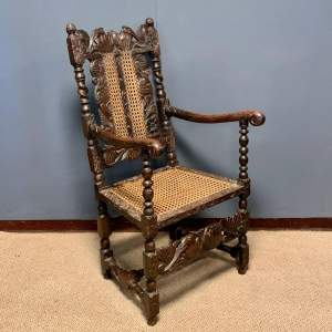 19th Century Oak and Cane Armchair