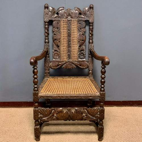19th Century Oak and Cane Armchair image-2
