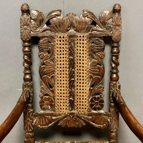 19th Century Oak and Cane Armchair image-3