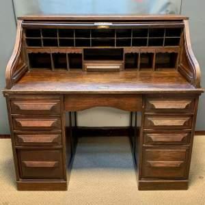 Edwardian Oak Tambour Fronted Desk