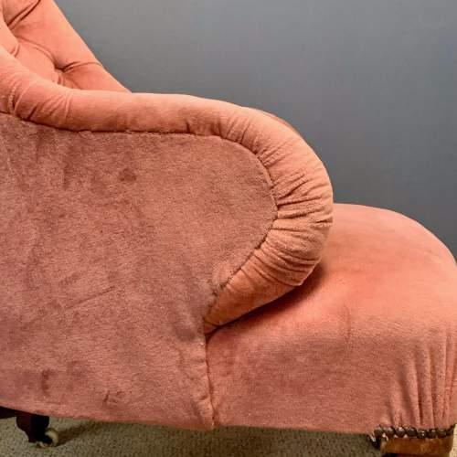 Victorian Pink Velvet Button Back Armchair image-5