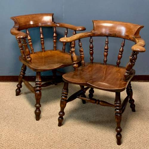 Pair of 19th Century Ash and Elms Captains Chair image-1