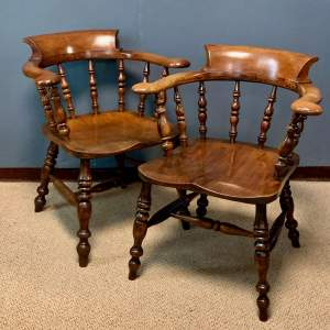 Pair of 19th Century Ash and Elms Captains Chair