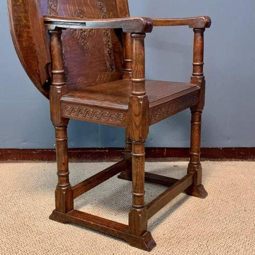 1920s Carved Oak Monks Chair image-4