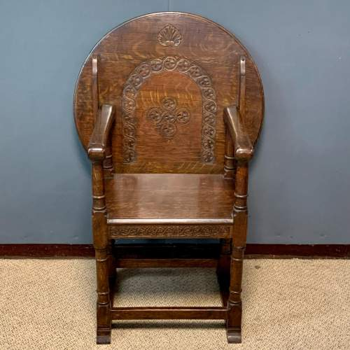 1920s Carved Oak Monks Chair image-2
