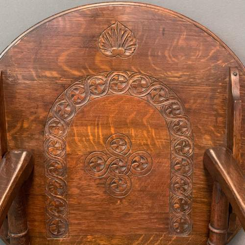 1920s Carved Oak Monks Chair image-3