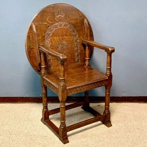 1920s Carved Oak Monks Chair image-1