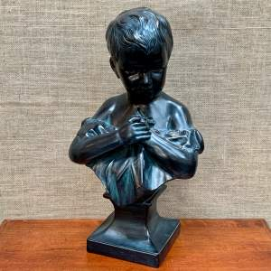 20th Century Bronzed Terracotta Bust of a Child