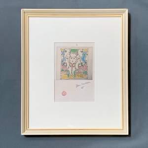Jean Cocteau Signed Print - Coulews De L'Europe