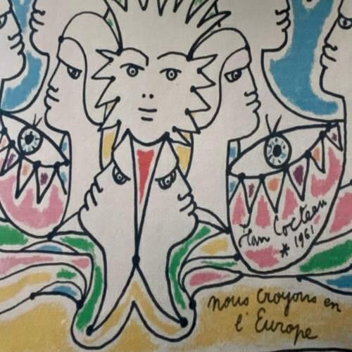 Jean Cocteau Signed Print - Coulews De L'Europe image-2