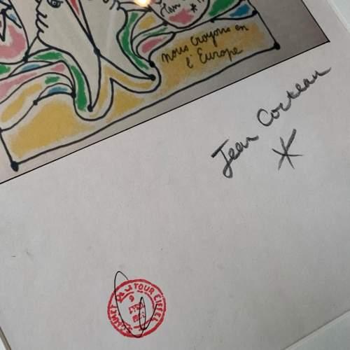 Jean Cocteau Signed Print - Coulews De L'Europe image-3