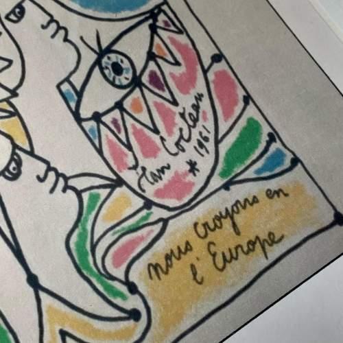 Jean Cocteau Signed Print - Coulews De L'Europe image-4