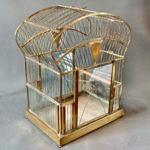 Early 20th Century Brass and Glass Birdcage image-1
