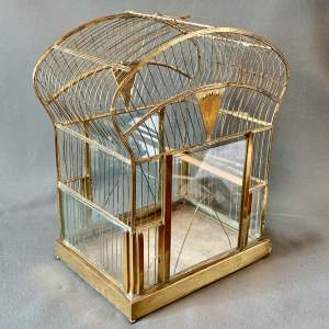 Early 20th Century Brass and Glass Birdcage