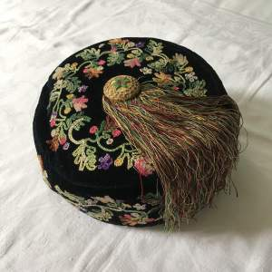 Victorian Velvet Smoking Hat with Tambour Embroidery Circa 1880